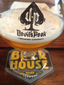Beerhouse Devils' Peak branded glass Whale Cottage Portfolio