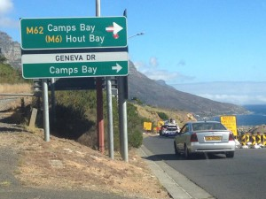 Camps Bay Drive sign 3 coming from town Whale Cottage