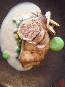 Open Door Linefish with oyster veloute and peas Whale Cottage